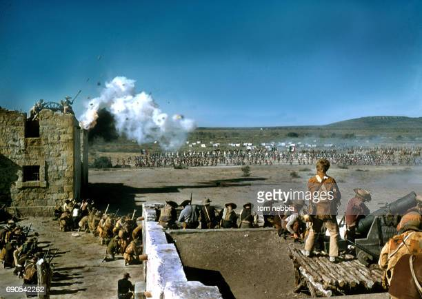 View of the standoff between Alamo defenders and the Mexican army in a battle scene from the film 'The Alamo' Brackettville Texas 1960