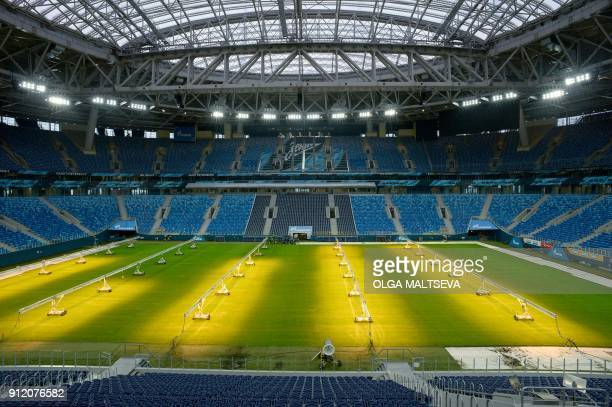 A view of the stands and the pitch of the Saint Petersburg Stadium in Saint Petersburg on January 30 2018