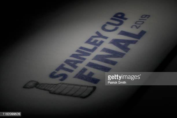 A view of the Stanley Cup logo prior to Game One of the 2019 NHL Stanley Cup Final between the Boston Bruins and the St Louis Blues at TD Garden on...