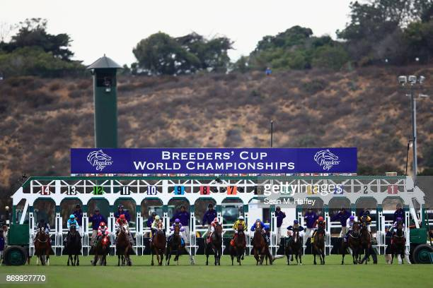 A view of the start during the Breeder's Cup Juvenile Turf race on day one of the 2017 Breeder's Cup World Championship at Del Mar Race Track on...