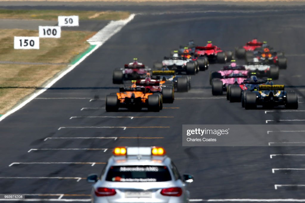 A view of the start from the rear during the Formula One Grand Prix of Great Britain at Silverstone on July 8, 2018 in Northampton, England.
