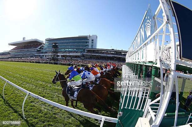 A view of the start of race eight the Crown Oaks on Oaks Day at Flemington Racecourse on November 3 2016 in Melbourne Australia