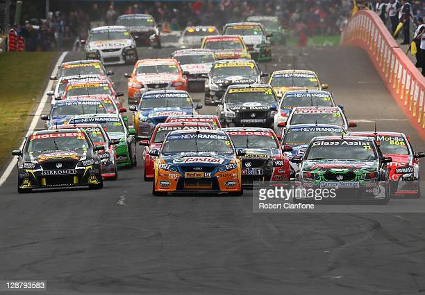 A view of the start of the Bathurst 1000 which is round 10 of the V8 Supercars Championship Series at Mount Panorama on October 9 2011 in Bathurst...
