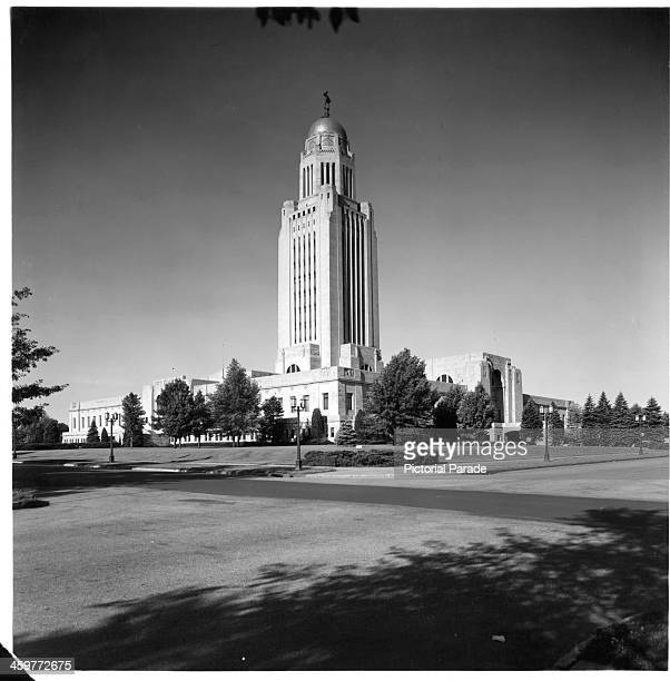 A view of the State Capital building in Lincoln Nebraska Circa 1950