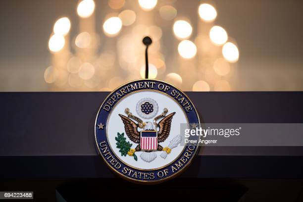 A view of the State Department seal on the podium before Romanian President Klaus Iohannis and US Secretary of State Rex Tillerson appear for a photo...