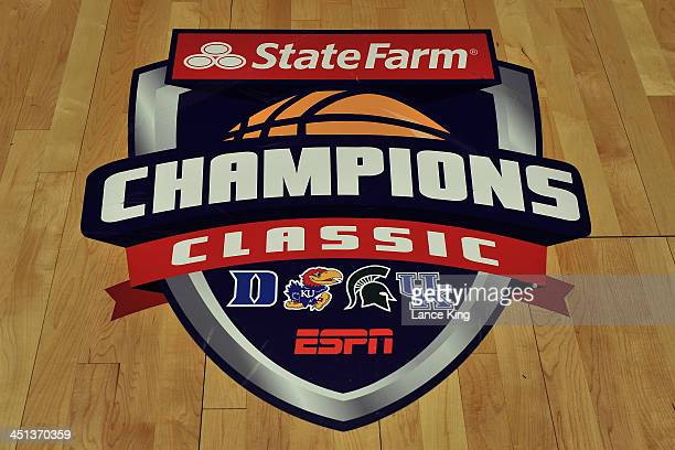 View of the State Farm Champions Classic logo prior to a game between the Kansas Jayhawks and the Duke Blue Devils at the United Center on November...
