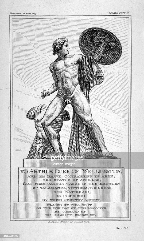 View of the statue of Achilles, Hyde Park, London, 1822. Artist: J Mills : News Photo