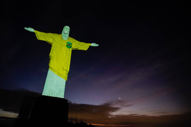 BRA: Christ The Redeemer Lights Up 100 Ahead of Tokyo Olympics