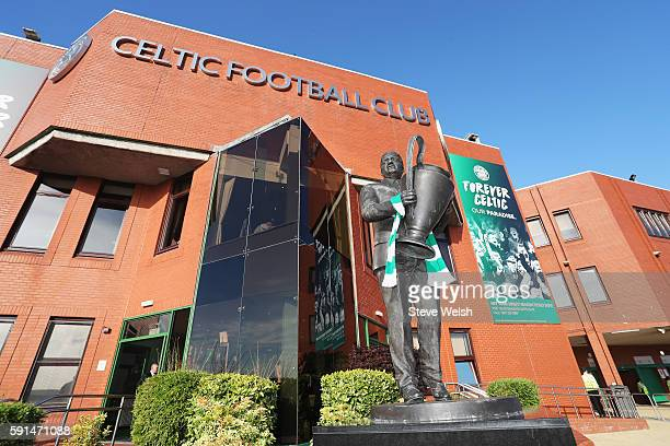 A view of the statue of former manager Jock Stein outside the ground prior to the UEFA Champions League Playoff First leg match between Celtic and...