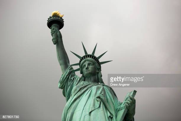 A view of the Statue of Liberty August 8 2017 in New York City Immigration continues to be a hotly debated topic in the United States during the...