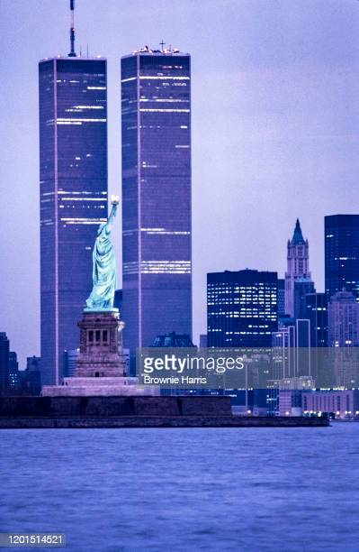 View of the Statue of Liberty framed by the twin towers of the World Trade Center New York New York 1977