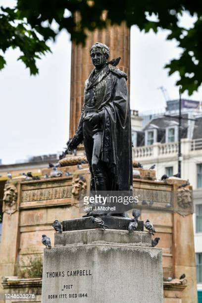 A view of the statue of poet Thomas Campbell whose father made his fortune as a tobacco merchant Glasgow's historic ties with the transatlantic slave...