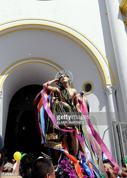 View of the statue of Saint Sebastian during festivities in his honor in Diriamba about 45 km south of Managua on January 20 2012 AFP PHOTO / ELMER...