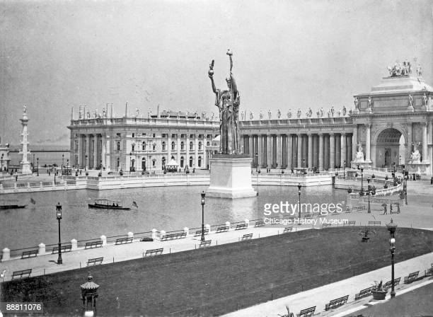 View of the Statue of the Republic and the Peristyle from the Chicago World's Columbian Exposition of 1893 Chicago IL