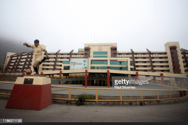 View of the statue of Universitario de Lima's legend Lolo Fernandez on November 08 2019 in Lima Peru As a result of the protests and social unrest...