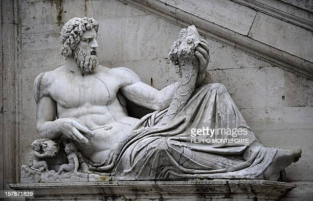 A view of the statue River God Tiber on Piazza del Campidoglio in central Rome on February 9 2010 AFP PHOTO / Filippo MONTEFORTE / AFP / FILIPPO...