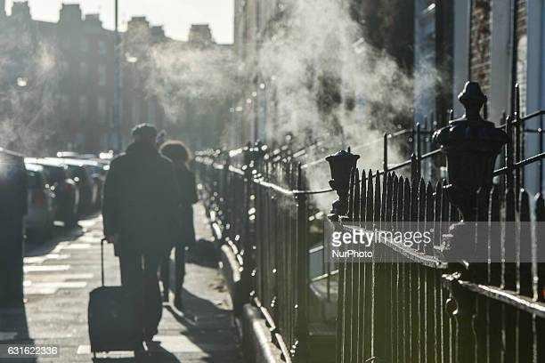 A view of the steam coming out on a cold day from the Georgian houses basements in Fitzwilliam Square On Friday 13 January 2017 Dublin Ireland