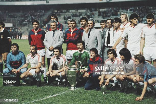 View of the Steaua Bucuresti team with goalkeeper Helmuth Duckadam holding the European Cup trophy during celebrations after Steaua Bucuresti...