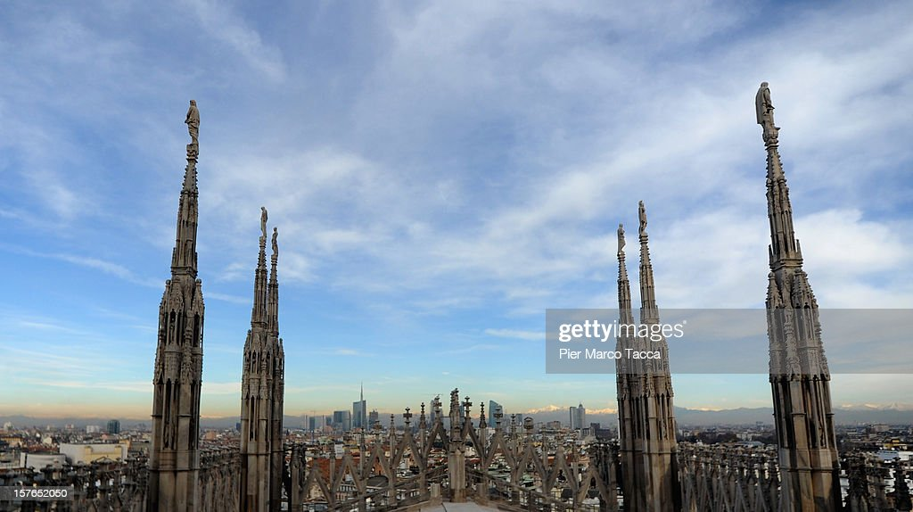 A view of the steeples on the Dome during the press tour for a presentation of the restoration works of Duomo di Milano (Milan Cathedral) on December 5, 2012 in Milan, Italy. The latest program of restoration work of the world's fourth largest Church and the 1774 statue of the Madonnina was announced today.