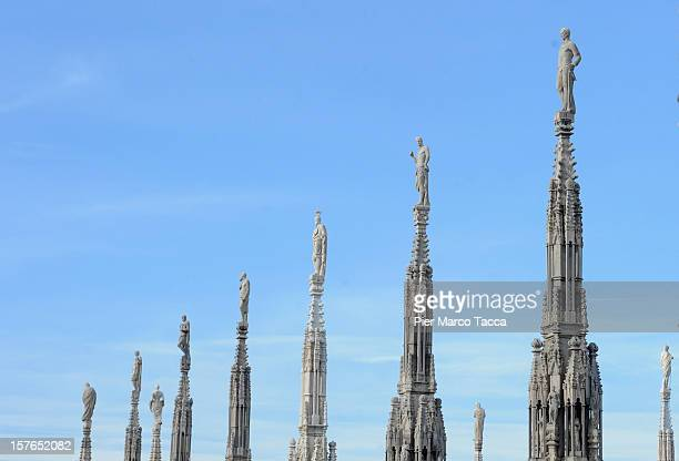 A view of the steeples on the Dome during the press tour for a presentation of the restoration works of Duomo di Milano on December 5 2012 in Milan...