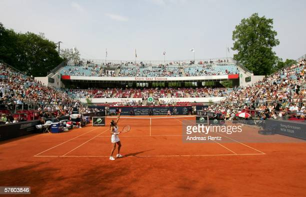 View of the Steffi Graf Stadium seen during the match Justine Henin-Hardenne of Belgium against Amelie Mauresmo of France during the sixth day of the...