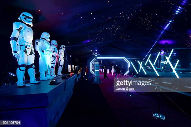 "A view of the stormtrooper exhibit during the after party for the World Premiere of ""Star Wars The Force Awakens"" on Hollywood Blvd on December 14..."