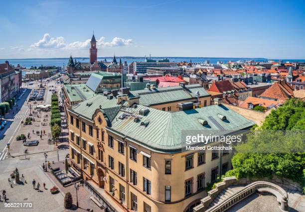 view of the stortoget central main square of helsingborg, scania, sweden - helsingborg stock pictures, royalty-free photos & images