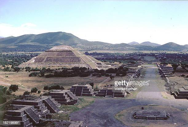 View of the Street of the Dead showing the Plaza of the Moon and the Pyramid of the Sun Mexico Teotihuacan culture 1750 AD Teotihuacan