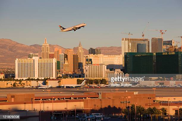view of the strip from mccarran international airport, las vegas, nevada, usa - mccarran international airport stock photos and pictures