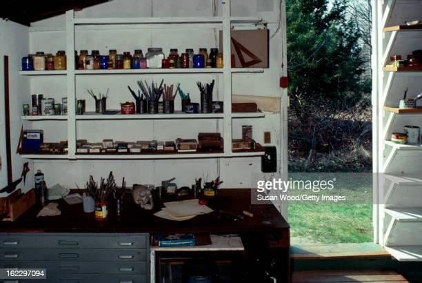 View of the studio of artist Jackson Pollock, Springs, East Hampton, New York, April 1, 1991.