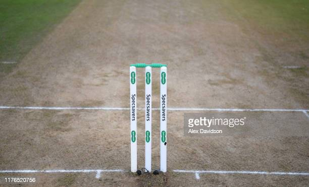 View of the stumps during Day One of the Specsavers County Championship Division On match between Somerset and Essex at The Cooper Associates County...