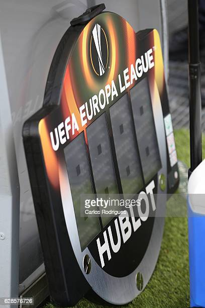 A view of the substitutes board during the UEFA Europe League match between SC Braga v FC Shakhtar Donetsk at Estadio Municipal de Braga on December...