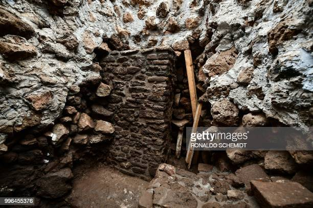 View of the substructure inside the Teopanzolco pyramid in Cuernavaca Morelos State Mexico on July 11 2018 After an earthquake took place on...