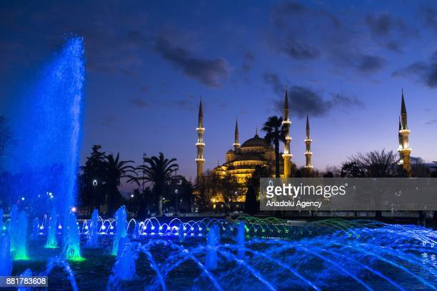 A view of the Sultan Ahmed Mosque ahead of the celebrations for Mawlid alNabi the birth anniversary of Muslims' beloved Prophet Mohammad in Istanbul...