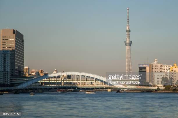 view of the sumidagawa river - 永代橋 ストックフォトと画像