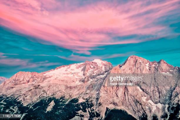 View of the summit of Marmolata, Marmolada at sunset, from a hill above Pordoi pass, Passo Pordoi.