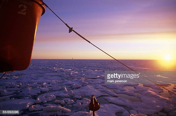 A view of the sun setting on the ice of the Arctic from the Russian Beaufort Sea icebreaker ship 'Kapitan Khlebnikov' on one of the Quark Expeditions...