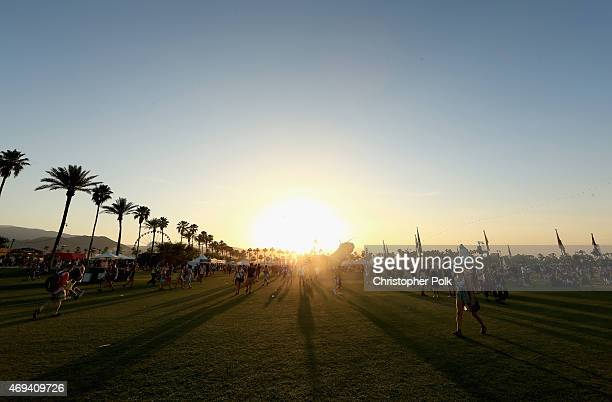 A view of the sunset during day 2 of the 2015 Coachella Valley Music Arts Festival at the Empire Polo Club on April 11 2015 in Indio California