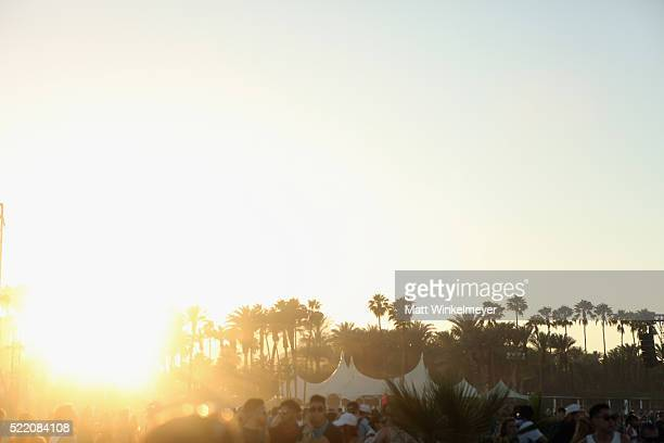 A view of the sunset during day 3 of the 2016 Coachella Valley Music And Arts Festival Weekend 1 at the Empire Polo Club on April 17 2016 in Indio...