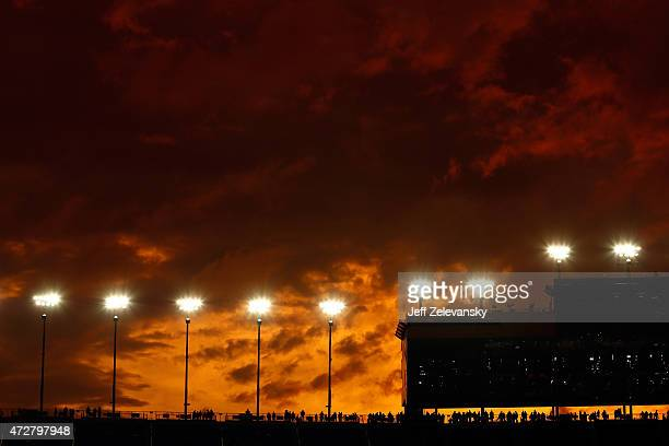 View of the sunset during the NASCAR Sprint Cup Series SpongeBob SquarePants 400 at Kansas Speedway on May 9, 2015 in Kansas City, Kansas.