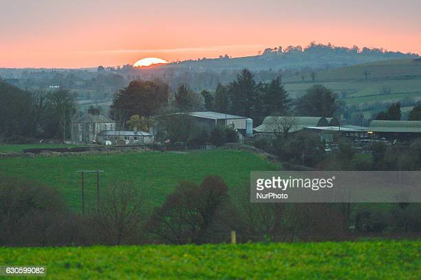 A view of the sunset from Monasterboice an early Christian settlement in County Louth On Monday 26 December 2016 in Monasterboice County Louth Ireland