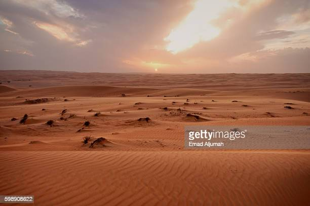 View of the sunset in Bidiyah desert, Oman