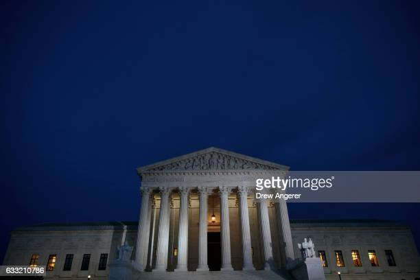 A view of the Supreme Court at dusk January 31 2017 in Washington DC President Donald Trump will announce his nominee for the Supreme Court on...
