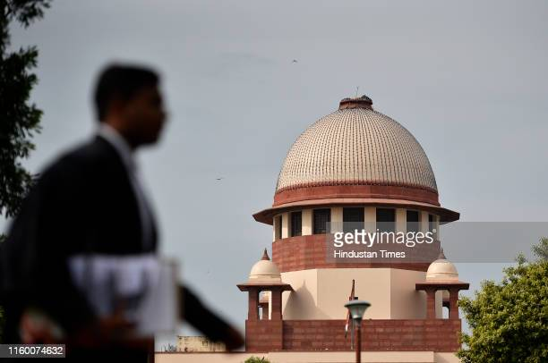 A view of the Supreme Court building during the Ayodhaya Ram JanmbhoomiBabri Masjid case hearing on August 6 2019 in New Delhi India