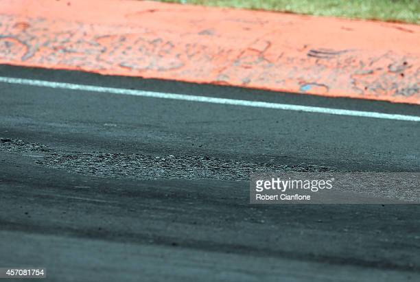 A view of the surface at turn two after the race was stopped during the Bathurst 1000 which is round 11 and race 30 of the V8 Supercars Championship...