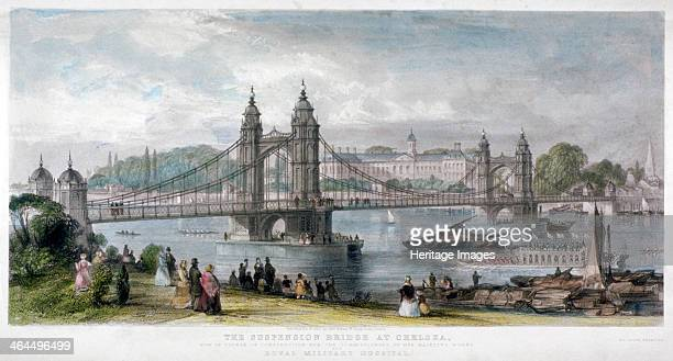 View of the suspension bridge at Chelsea London 1852 In the foreground figures watch water vessels passing underneath the bridge