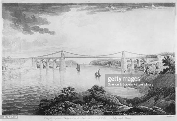 �View of the Suspension Bridge erected over the Menai Strait in North Wales Looking towards Beaumaris' Coloured aquatint engraved by R G Revee after...
