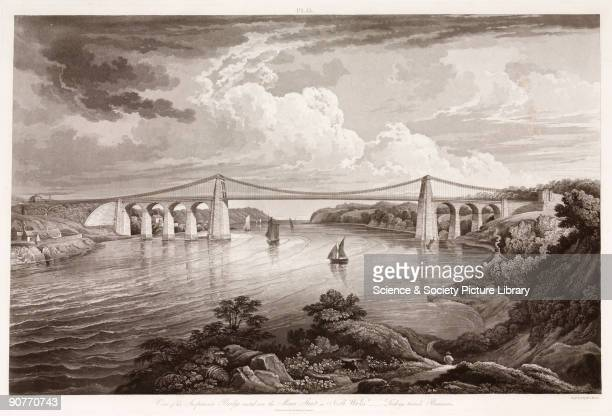 �View of the suspension bridge erected over the Menai Strait in North Wales looking towards Beaumaris� The bridge connecting the Isle of Anglesey and...