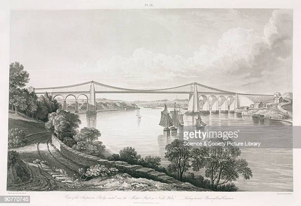 �View of the suspension bridge erected over the Menai Strait in North Wales looking towards Plasnewydd and Caernarvon� The bridge connecting the Isle...