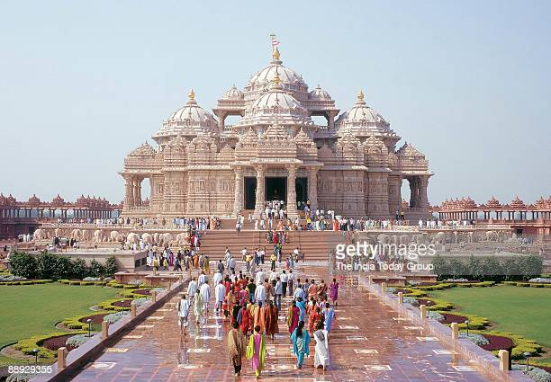 View of the Swaminarayan Akshardham temple in Delhi India